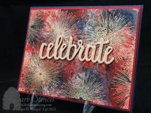 Red, White, and Blue Brusho Card with Celebrate You Thinlits